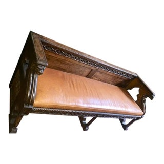 19th Century French Carved Gothic Style Leather Bench For Sale