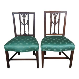 Baker Furniture Hepplewhite Square Back Chairs Sheraton Parlor Dining Side - a Pair For Sale