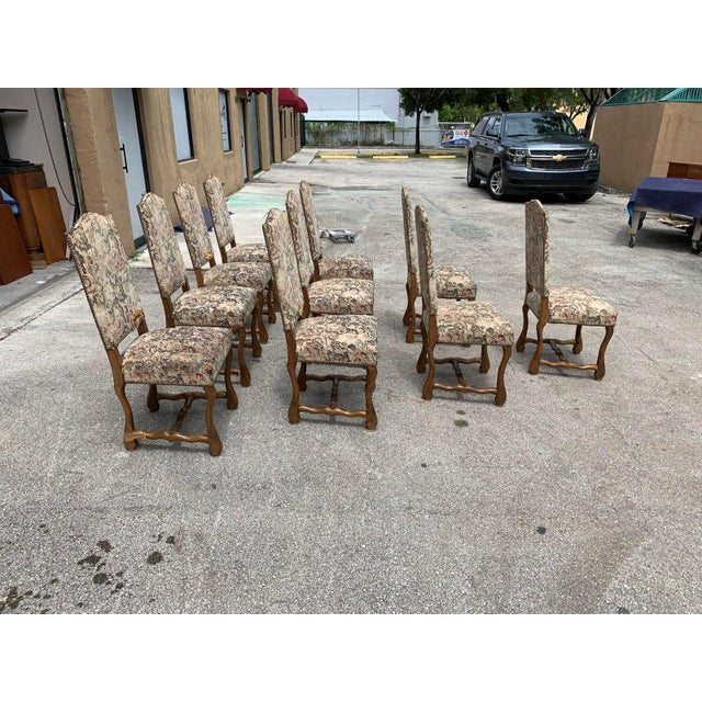 French 1900s Vintage French Louis XIII Style Os De Mouton Dining Chairs- Set of 10 For Sale - Image 3 of 13