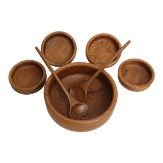 Mid-Century Modern Teak Salad Bowl Set -7 Pieces