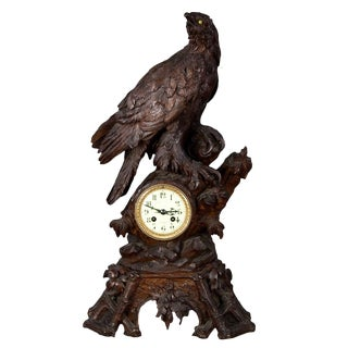 Antique Carved Wood Eagle Table Clock Swiss 1900 For Sale