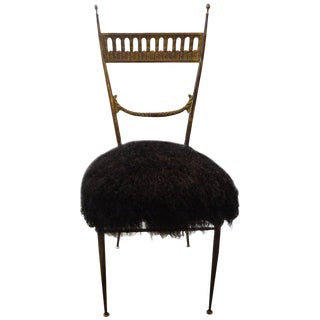 1960s Italian Brass Chiavari Chair Upholstered in Black Mongolian Lambs Wool