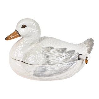 Vintage Italian Ceramic Duck Tureen For Sale