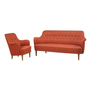 Carl Malmsten Model Samsas Sofa and Chair For Sale
