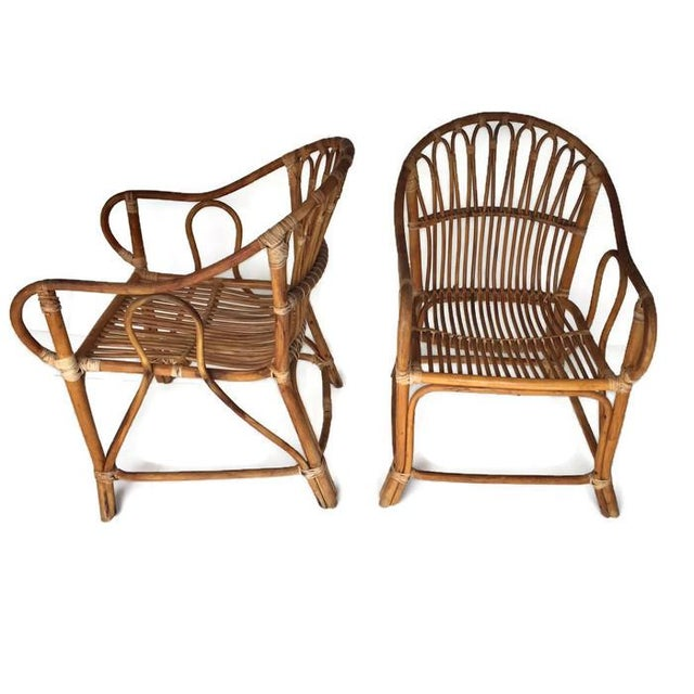 Mid-Century Bamboo Chairs Franco Albini Style Arm Chairs - a Pair - Image 6 of 6