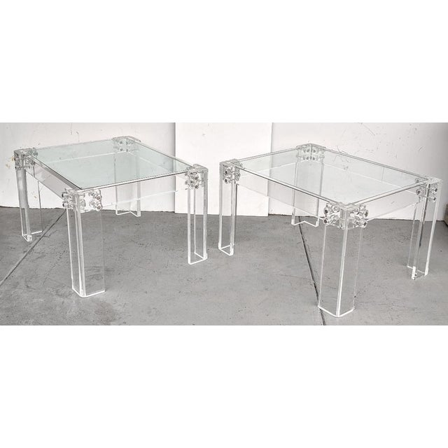 Mid-Century Modern Lucite Side/Cocktail Tables With Glass Tops - a Pair For Sale - Image 12 of 12