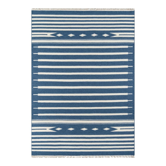 """Erin Gates by Momeni Thompson Billings Denim Hand Woven Wool Area Rug - 3'6"""" X 5'6"""" For Sale"""