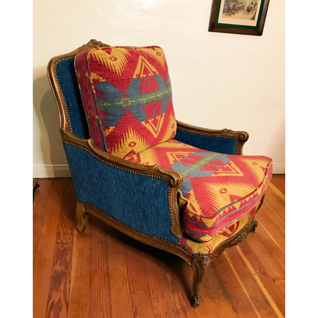 French 19th Century French Upholstered and Carved Armchair For Sale - Image 3 of 13