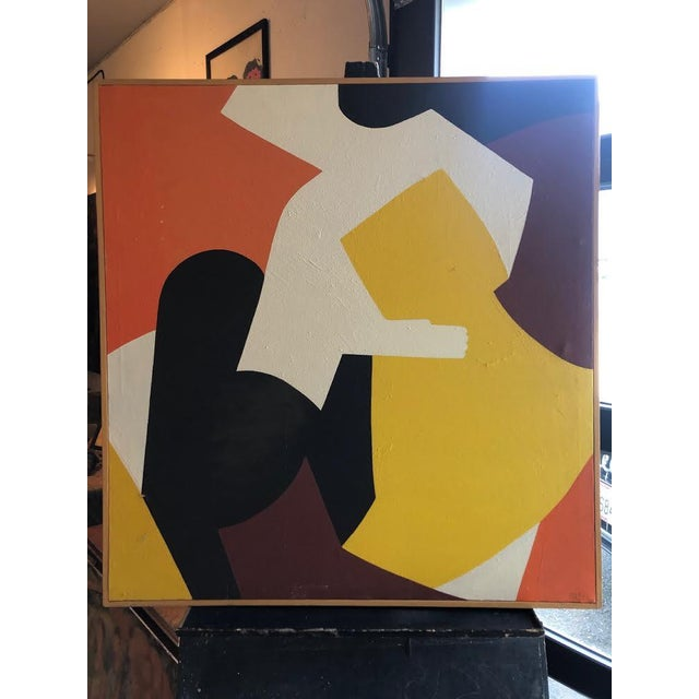 "Bold 1960s Abstract Figures Oil on Canvas Painting Signed ""Mg Christian"" For Sale - Image 12 of 12"