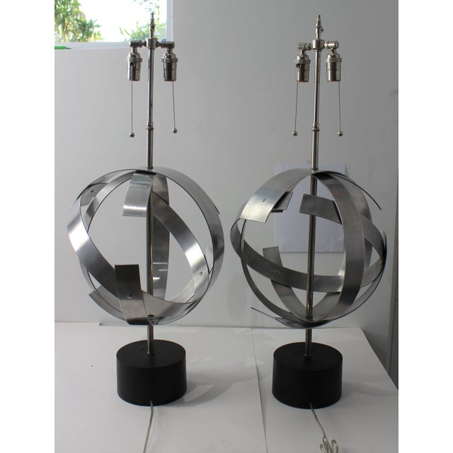 Modern Vintage Modern Armillary Style Stainless Steel Table Lamps - the Pair For Sale - Image 3 of 13