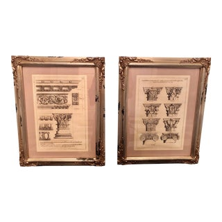 A Pair of Antique Architectural Prints in Ornate Silver Frames