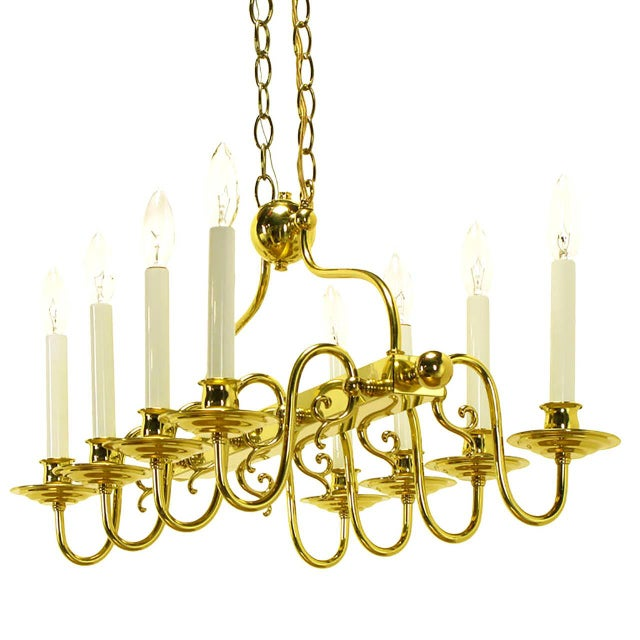 1960s Eight-Arm Linear Brass Rectangular Chandelier For Sale - Image 5 of 10