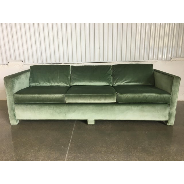 This all-original, mid-century modern pistachio green velvet sofa in the style of Milo Baughman is a show stopper! It was...