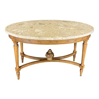 French Louis XVI Style Marble Top Carved Walnut Coffee Table For Sale
