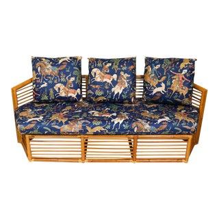 Walters Wicker Rattan Sofa Persian Hunt Fabric For Sale