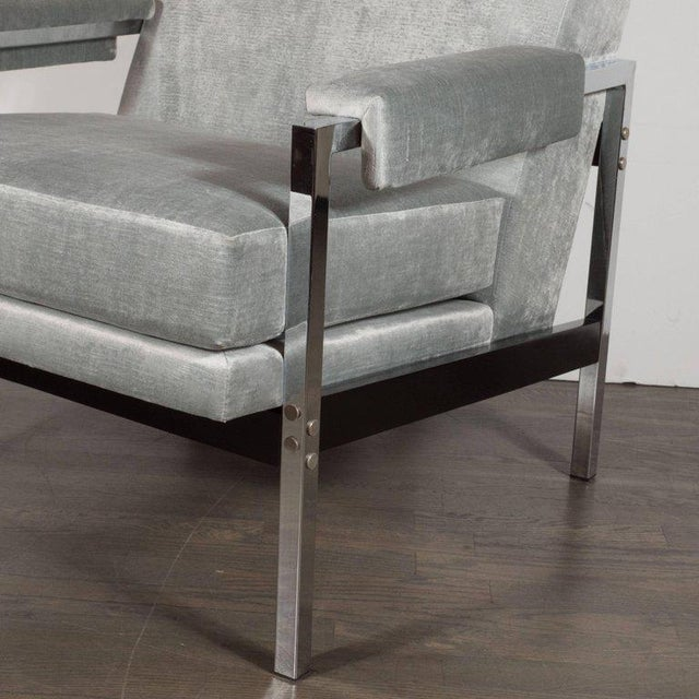 Mid-Century Modern Ebonized Walnut and Chrome Armchairs For Sale In New York - Image 6 of 10