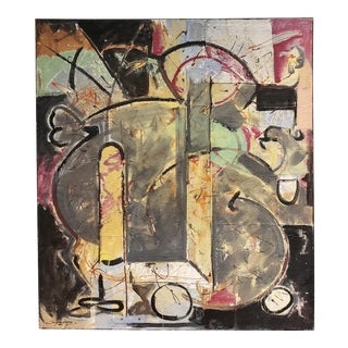 Multi Media Abstract Painting by Artist Jacques Lamy For Sale