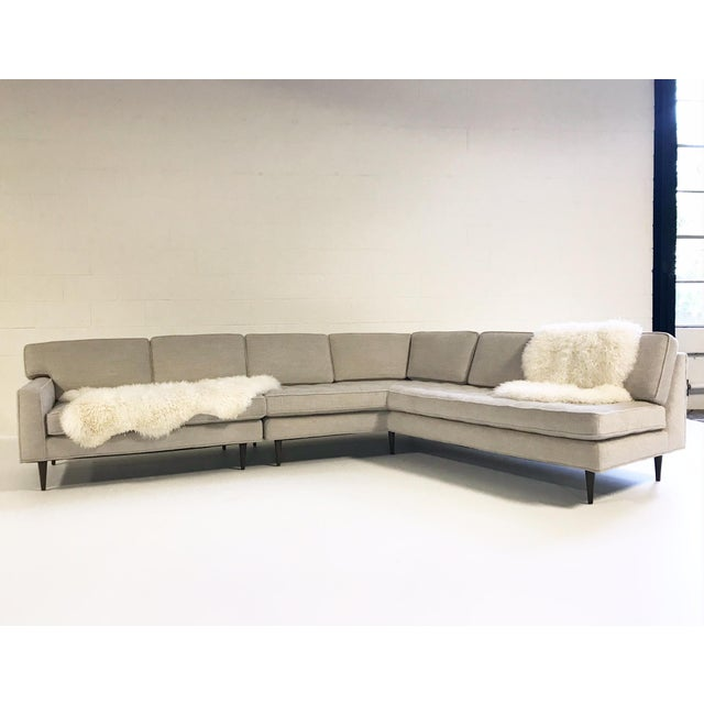 Modern Vintage Mid-Century 2-Piece Sectional Sofa Restored in Gray Loro Piana Alpaca Wool For Sale - Image 3 of 12