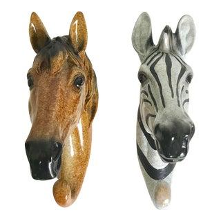 Large Zebra and Horse Coat Wall Hooks - Set of 2