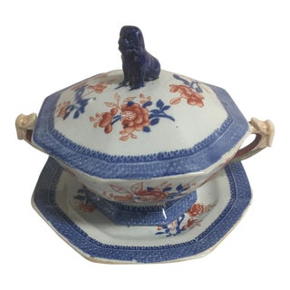Imari Pattern Ironstone Covered Tureen and Dish For Sale