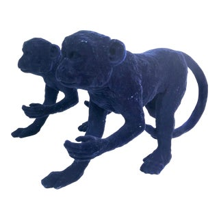 Contemporary Blue Velvet Plater Monkey Figurines For Sale