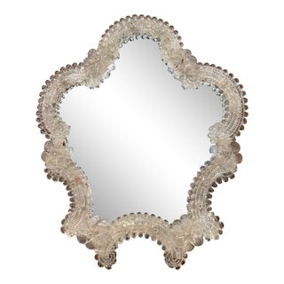 Midcentury Italian Venetian Murano Vanity Table Mirror With Foliage Etching For Sale