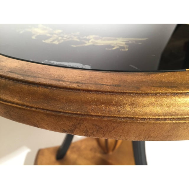Glass 1960s Mid-Century Modern Reverse Painted Round Giltwood Nesting Tables - a Pair For Sale - Image 7 of 12