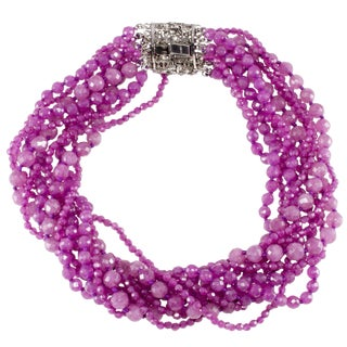 Ciner Necklace 1980s Vintage Purple Beads Twist Torsade Rhinestone Clasp For Sale