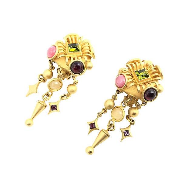 1990s Natasha Stambouli Chandelier Earrings For Sale - Image 5 of 8