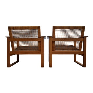 Børge Mogensen Mid Century Modern Pair of Oak and Cane Lounge Chairs