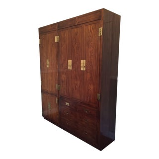 Campaign Style Henredon Pecan Double Armoire With Brass Pulls For Sale