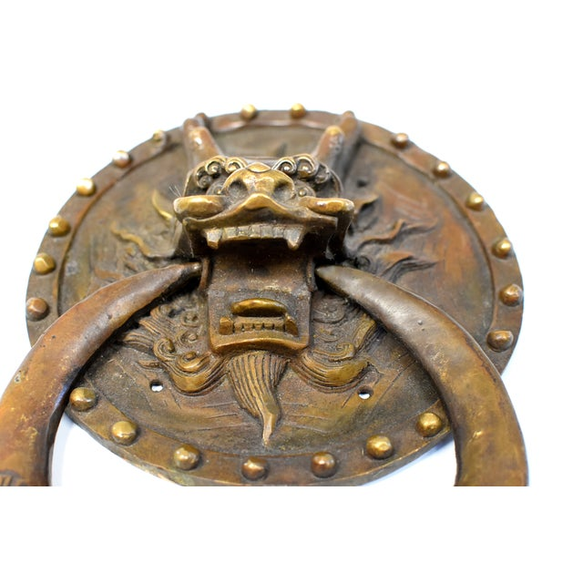 Vintage Mid Century Dragon Door Knockers- a Pair For Sale - Image 9 of 13