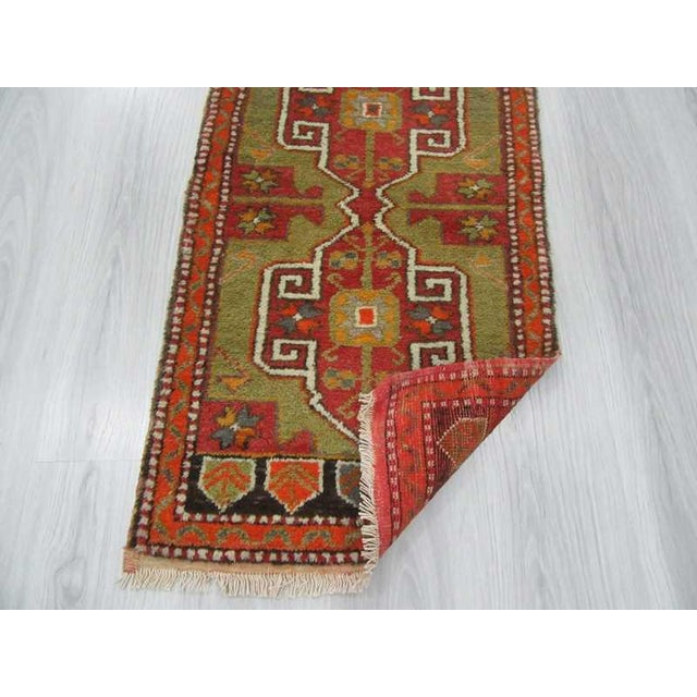 Vintage Hand Knotted Mini Oushak Rug - 1′10″ × 3′7″ For Sale - Image 4 of 4