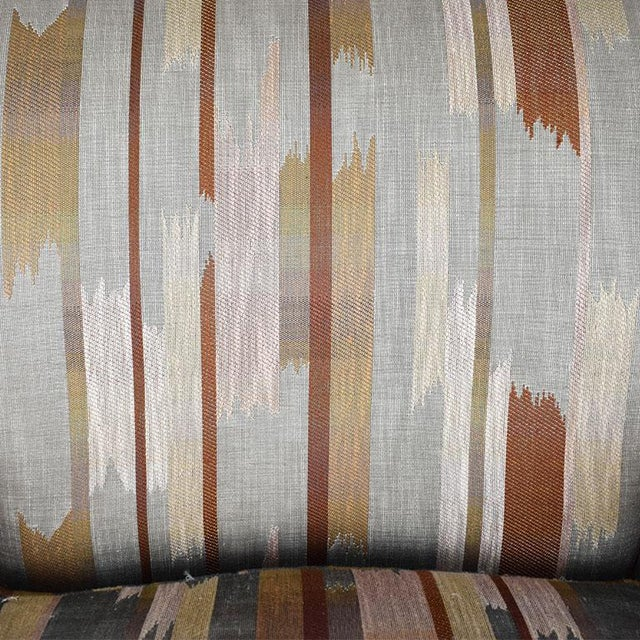 Rolling Upholstered Southwest Ikat Armchair in Brown Cream and Blue by Baker Furniture Company For Sale In Oklahoma City - Image 6 of 13