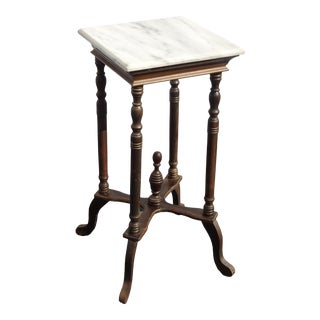 Vintage American French Country Brown Side Table White Marble Pland Stand Asis For Sale