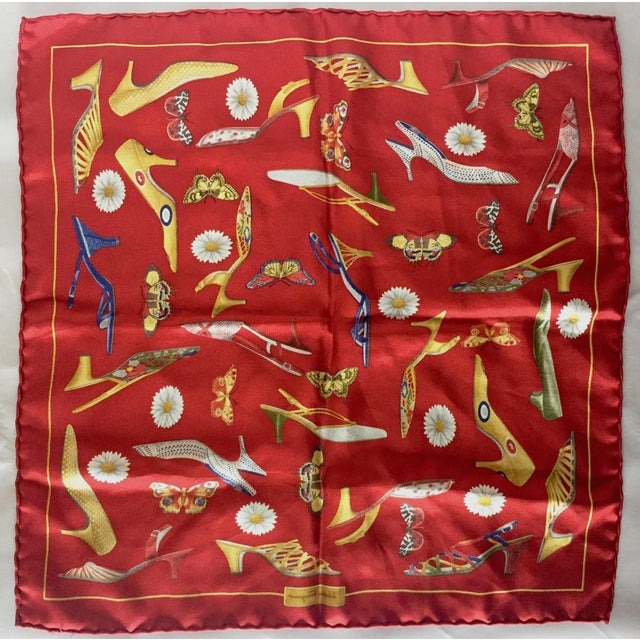 Metal 1990s Small Red Silk Scarf or Pocket Square, Shoe Motif - Salvatore Ferragamo For Sale - Image 7 of 9
