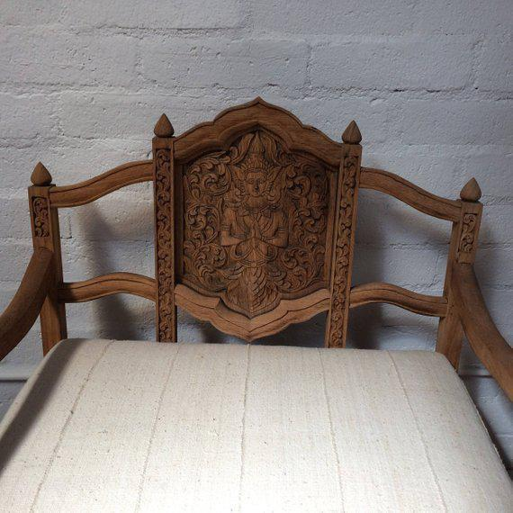 Antique Carved Wooden Elephant Saddle Chair With Hand Woven Textile Cushion For Sale In Los Angeles - Image 6 of 11
