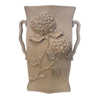Gray Hydrangea Ceramic Vase For Sale