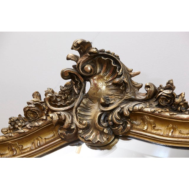 19th Century French Rococo Mirror With Beveled Glass For Sale - Image 4 of 11