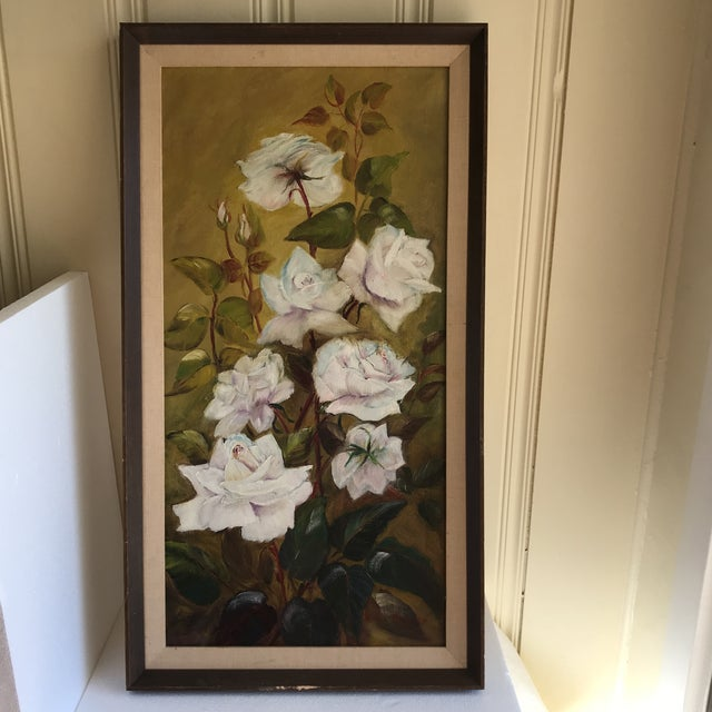 Vintage blooming roses oil painting with simple matte and wood frame. Gorgeous colors and blended texture. Fab details and...