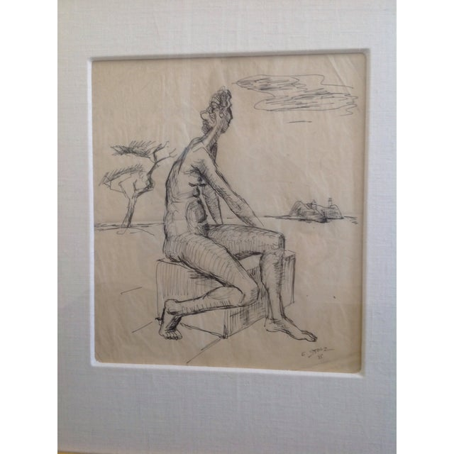 White Ernst Stolz Charcoal Drawing For Sale - Image 8 of 8
