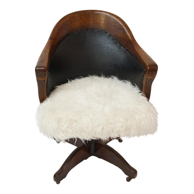 Antique Oak Bankers Swivel Chair With Mongolian Fur - Image 1 of 7