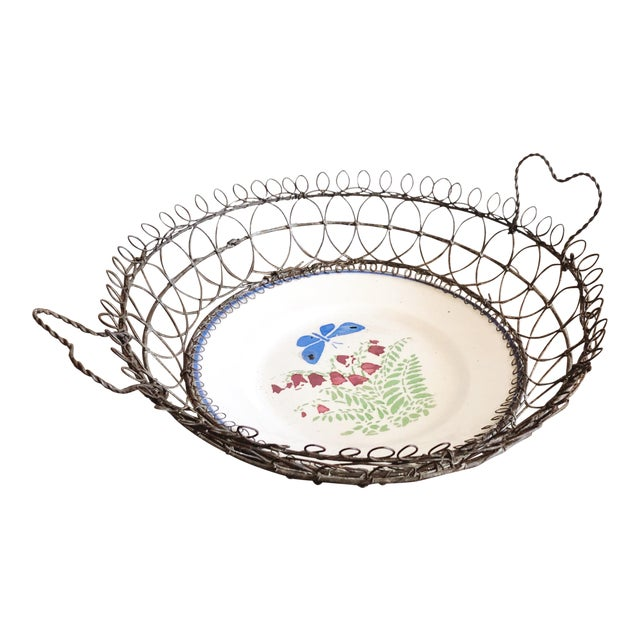 Antique Majolica Plate in Wire Bowl For Sale