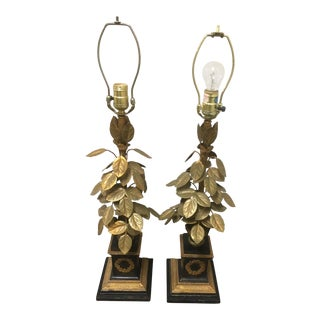 1920s Art Deco Hand Cut Bronze Lamps - a Pair For Sale