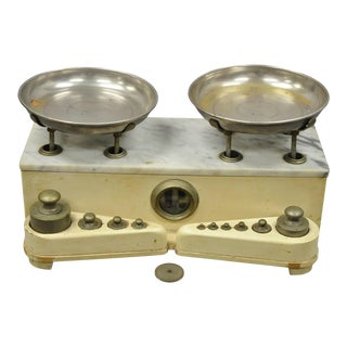 Antique Apothecary Pharmacy Scale Balance Italian Marble & Silver Plate Trays For Sale