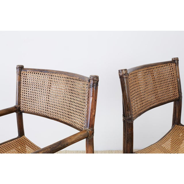 Animal Skin Set of Eight McGuire Bamboo Rattan Cane Dining Chairs For Sale - Image 7 of 13