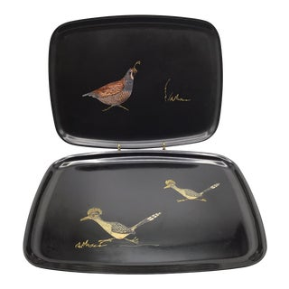 Vintage Couroc of Monterey Quail and Roadrunner Trays - Set of 2 For Sale