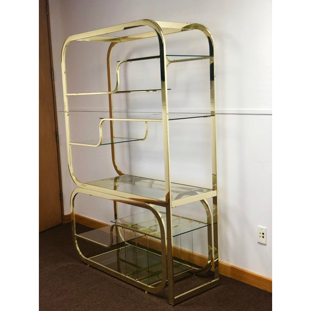 Gold 1970s Milo Baughman for Design Institute of America Brass Etagere For Sale - Image 8 of 9