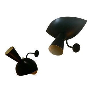 "Serge Mouille Genuine Rare Pair of Model ""Cachan"" Sconces For Sale"