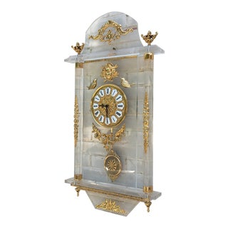 Regina Lucite & Brass Wall Hanging Clock For Sale